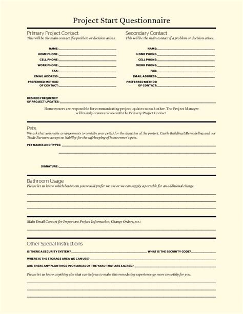 talking points project start questionnaire remodeling