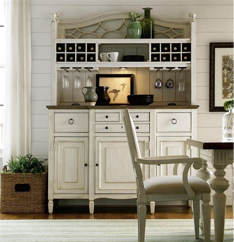 country chic maple wood white kitchen buffet  bar