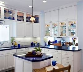 blue kitchen countertops on