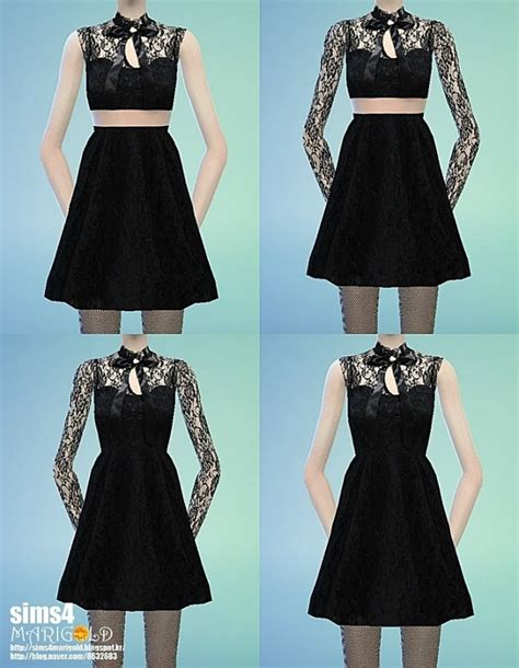 Ribbon lace black dress at Marigold » Sims 4 Updates