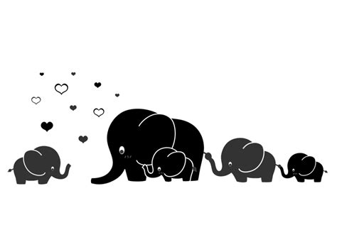 Wandtattoo Elefantenfamilie Kinderzimmer by Wandtattoo Elefantenfamilie Mit Herzchen Wandtattoos De