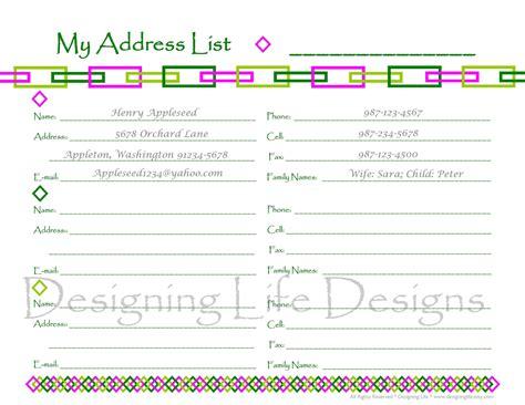 printable address book sheets contact list  wedding