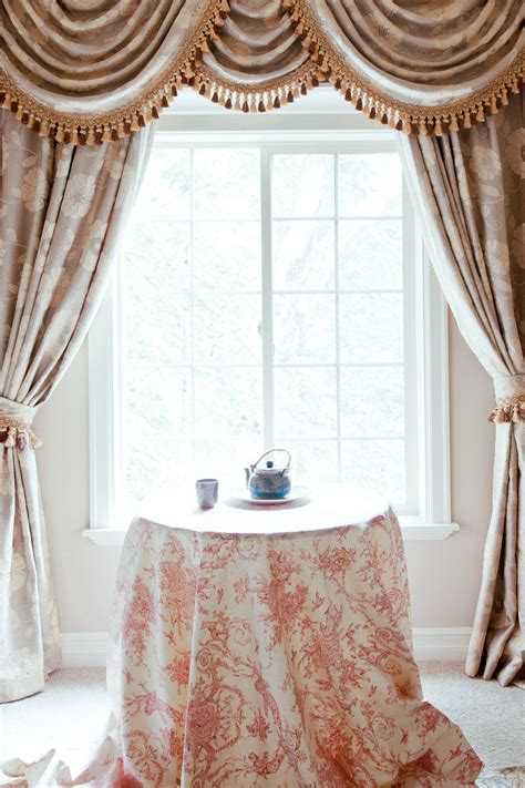 Curtains Drapes - pink camellia swags and tails valance curtain drapes