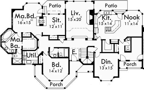 Luxury House Plans, Main Floor Master Bedroom, Victorian, 9985