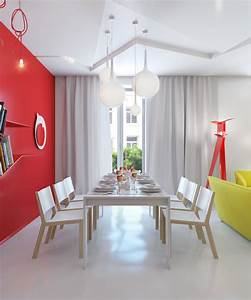 red white dining room Interior Design Ideas