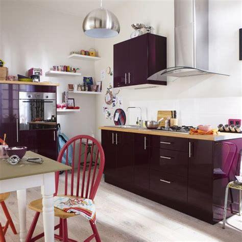 meuble de cuisine delinia composition type aubergine