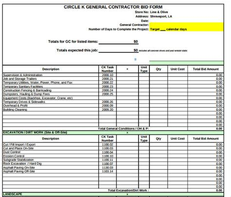 contractor bid form examples  examples