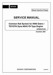 Pdf  Common Rail System For Hino Dutro    Service Manual Operation Toyota Dyna N04c