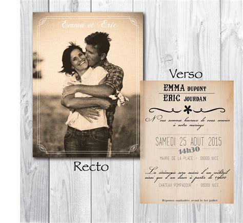 faire part mariage vintage a imprimer faire part de mariage original vintage unique recto verso