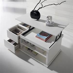 Table Basse Blanche Et Grise : table basse blanche avec tiroir design en image ~ Teatrodelosmanantiales.com Idées de Décoration