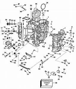 Evinrude Cylinder  U0026 Crankcase Parts For 1998 90hp L90glecs