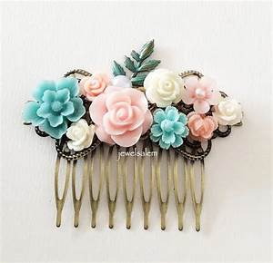 Pastel Pink Blue Wedding Bridal Hair Comb Light Turquoise ...
