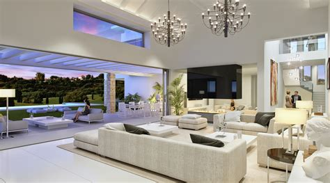 mansion living room with tv luxury contemporary mansion los flamingos golf blue Modern