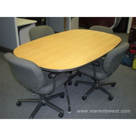 6 oval herman miller eames meeting conference table chairs