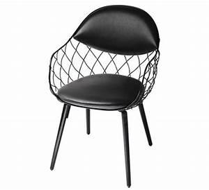 fauteuil rembourre pina cuir metal pieds bois cuir With salle À manger contemporaineavec chaise pied metal noir