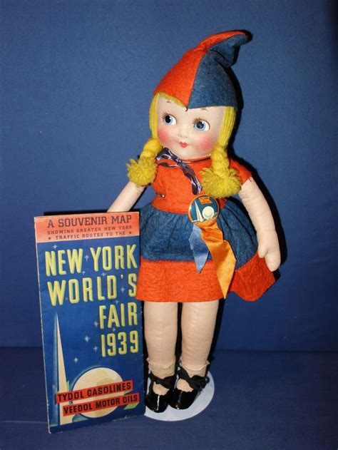 1939 World's Fair Doll, Button, And Map Promo