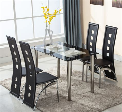 glass table with chairs 5 piece glass dining table set 4 leather chairs kitchen