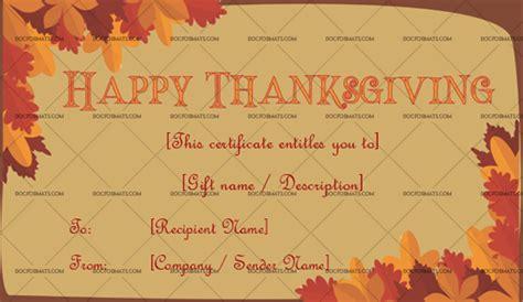 thanksgiving gift certificate template autumn