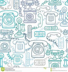 Vintage And Modern Telephones Seamless Pattern Stock ...