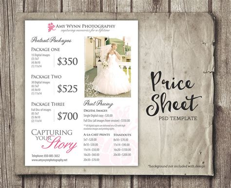 wedding price sheet photography template photographer