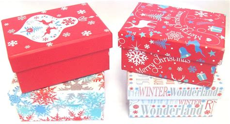 set of 4 small christmas gift boxes with lid red blue