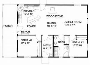Cabin Style House Plan - 2 Beds 1 Baths 1200 Sq/Ft Plan
