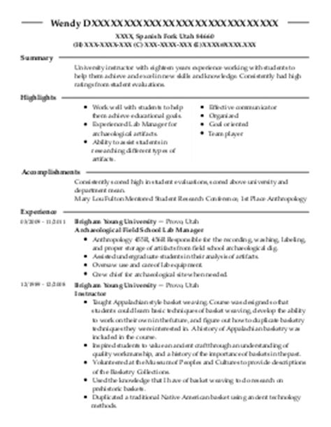 science instructor resume exle colorado state