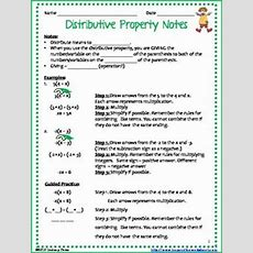 Distributive Property Coloring Page With Integers  Activities, Student And Note