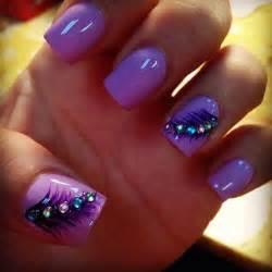Purple nail polish design art styling