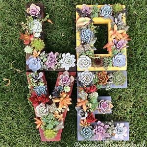 monogrammed letter succulent planter by succulentwonderland With wooden letter planter