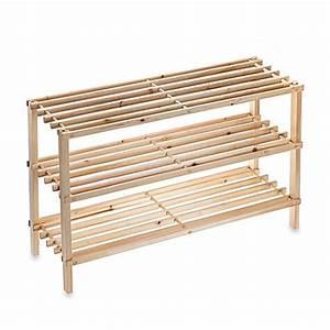 SALT™ 3-Tier Stackable Wood Shoe Rack - www