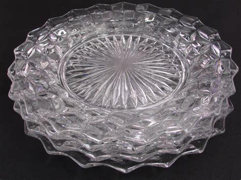 fostoria american dinner plates set     glass
