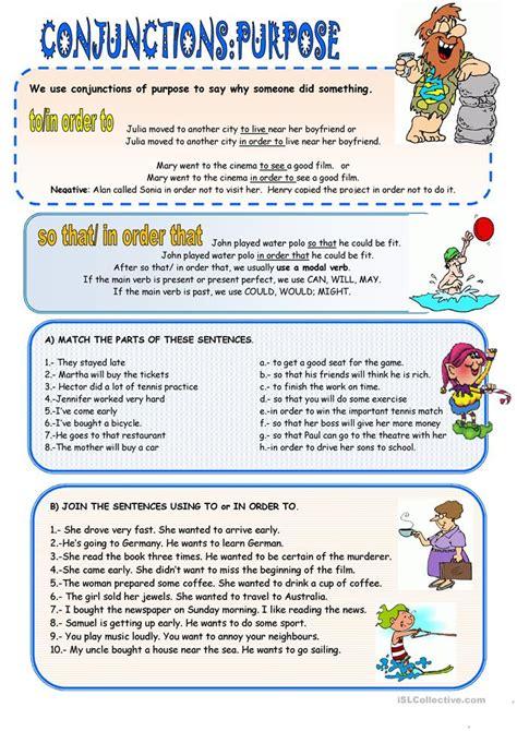 conjunctions  purpose worksheet  esl printable