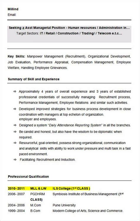 Resume Structure by Ultimate Guide To Writing Your Human Resources Resume Cv