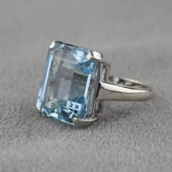 morganite and gold engagement ring pre owned vintage aquamarine ring in 14 karat white gold