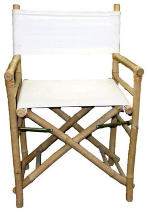 set of 2 pieces iron bamboo director chair white canvas