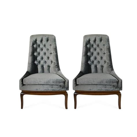 pair of tufted high back slipper chairs 1950s for sale at