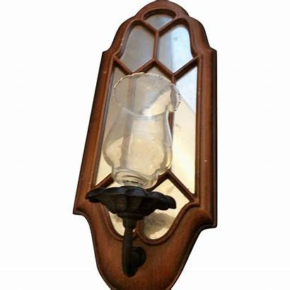 Glass Wall Sconce Candle Mirror Etched Shade