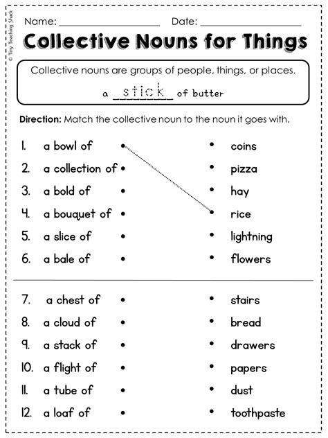 free collective noun worksheet with literacy my tpt