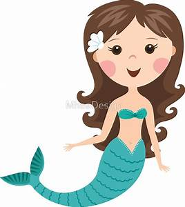 """Cute cartoon mermaid with brown hair stickers"" Stickers"