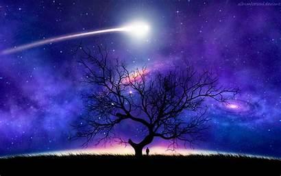 Space Tree Silhouette Night Comet Sky Starry