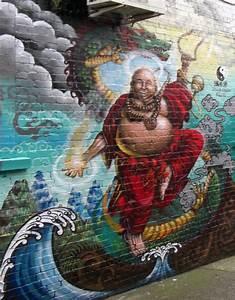 Budai Laughing Buddha Graffiti Mural Art Auckland Nz Pictures