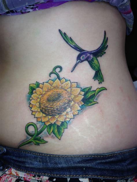 hummingbird  sunflower tattoo pretty ink sunflower
