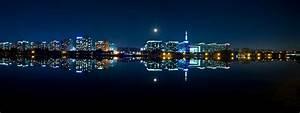 Nighttime Skyline over the water of Seoul, South Korea ...