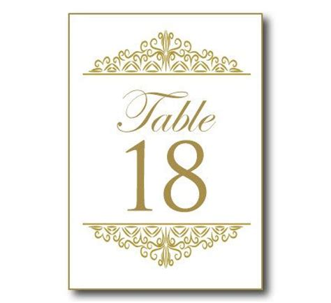 wedding table number template word  table numbers