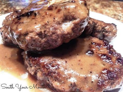 south  mouth hamburger steaks  brown gravy