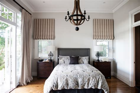 roman shades french doors Bedroom Traditional with beige