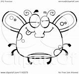 Drunk Fly Cartoon Chubby Clipart Coloring Outlined Vector Thoman Cory sketch template