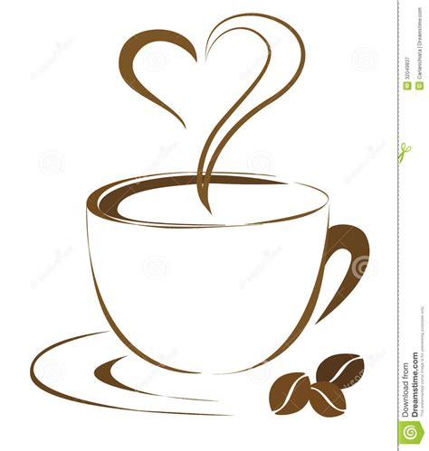 flower mug spoon coffee cup outline clipart