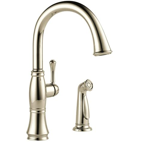 polished nickel kitchen faucet delta cassidy single handle standard kitchen faucet with